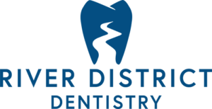The River District Dentistry logo in blue