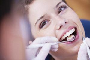 A dental cleaning in progress