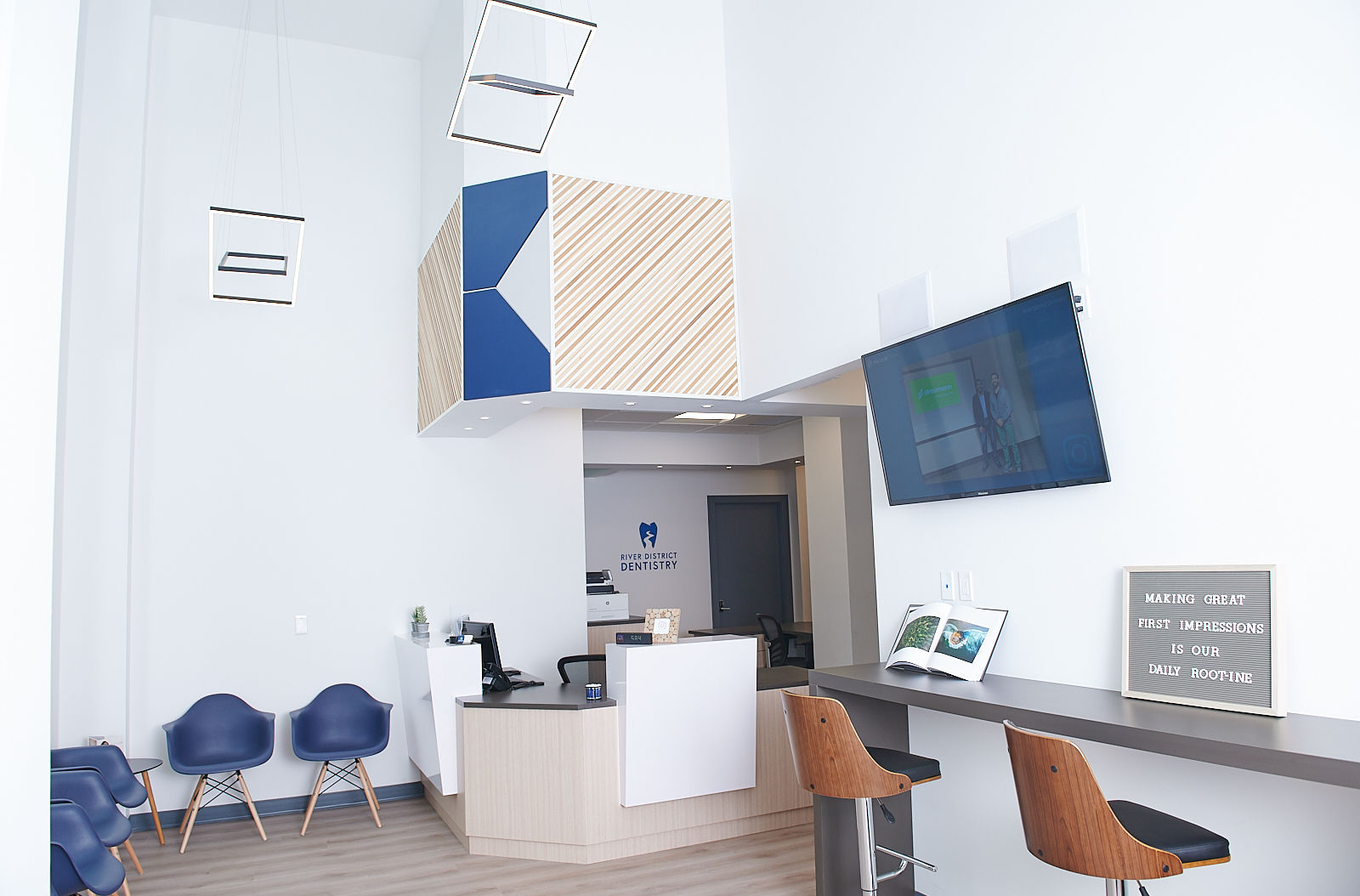 The waiting room at River District Dentistry